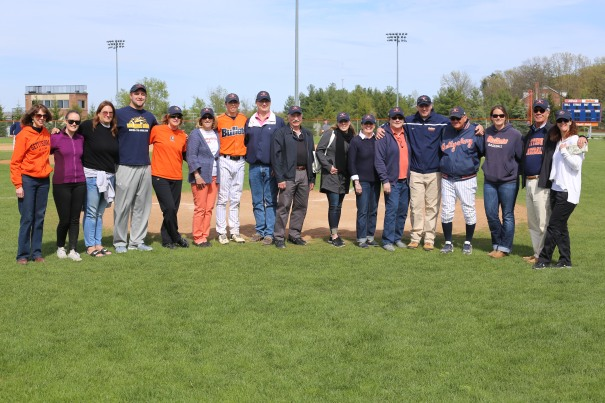 From left to right:  Gettysburg College President Janet Riggs, Project A.L.S. (Meredith Estess and Erin Fleming), the Kirchhoff Family, Gettysburg College Senior Baseball player Cory Karagjozi, the Borman Family, Gettysburg College Baseball Coach John Campo